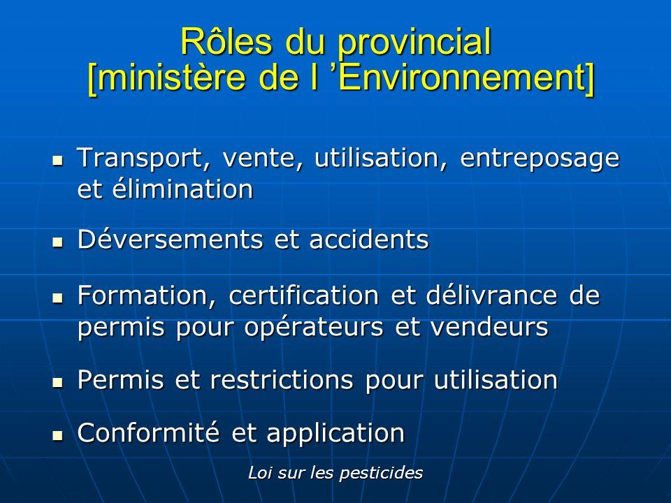 Rôles du provincial [ministère de l 'Environnement]